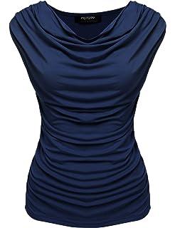 Zeagoo Damen Ärmellos Falten Shirt Bluse Tops Tunika mit Wasserfallkragen 88dfd75c21