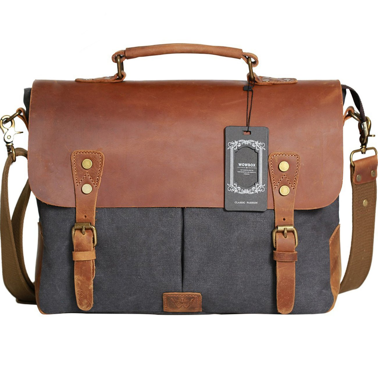 Use Messenger Real Everday Laptop Inch vintage Canvas Leather Briefcase Bag Women Satchel And Men 14 13 Wowbox For FJuT1c3lK