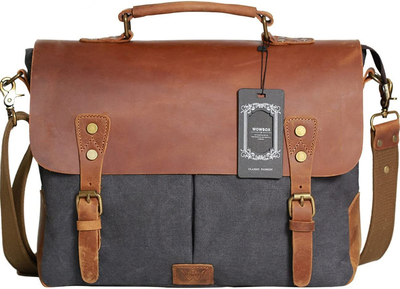 "Wowbox Messenger Satchel Bag for Men and Women,Vintage Canvas Real Leather 14-inch Laptop Briefcase for Everday use 13""(L) x10.5(H) x 4.1""(W)(Gray)"