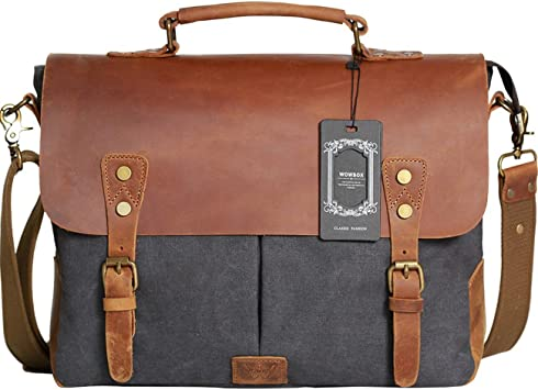 Men Women Real Vintage Leather Laptop Briefcase Messenger HandBag Satchel Bag