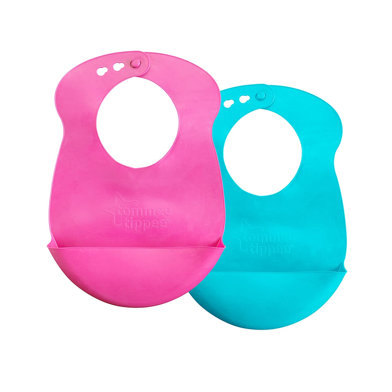 Tommee Tippee Easi-Roll Up Bib, BPA-Free Crumb & Drip Catcher, Pink & Blue/Pink & Purple, 2 Count (Colors May Vary)