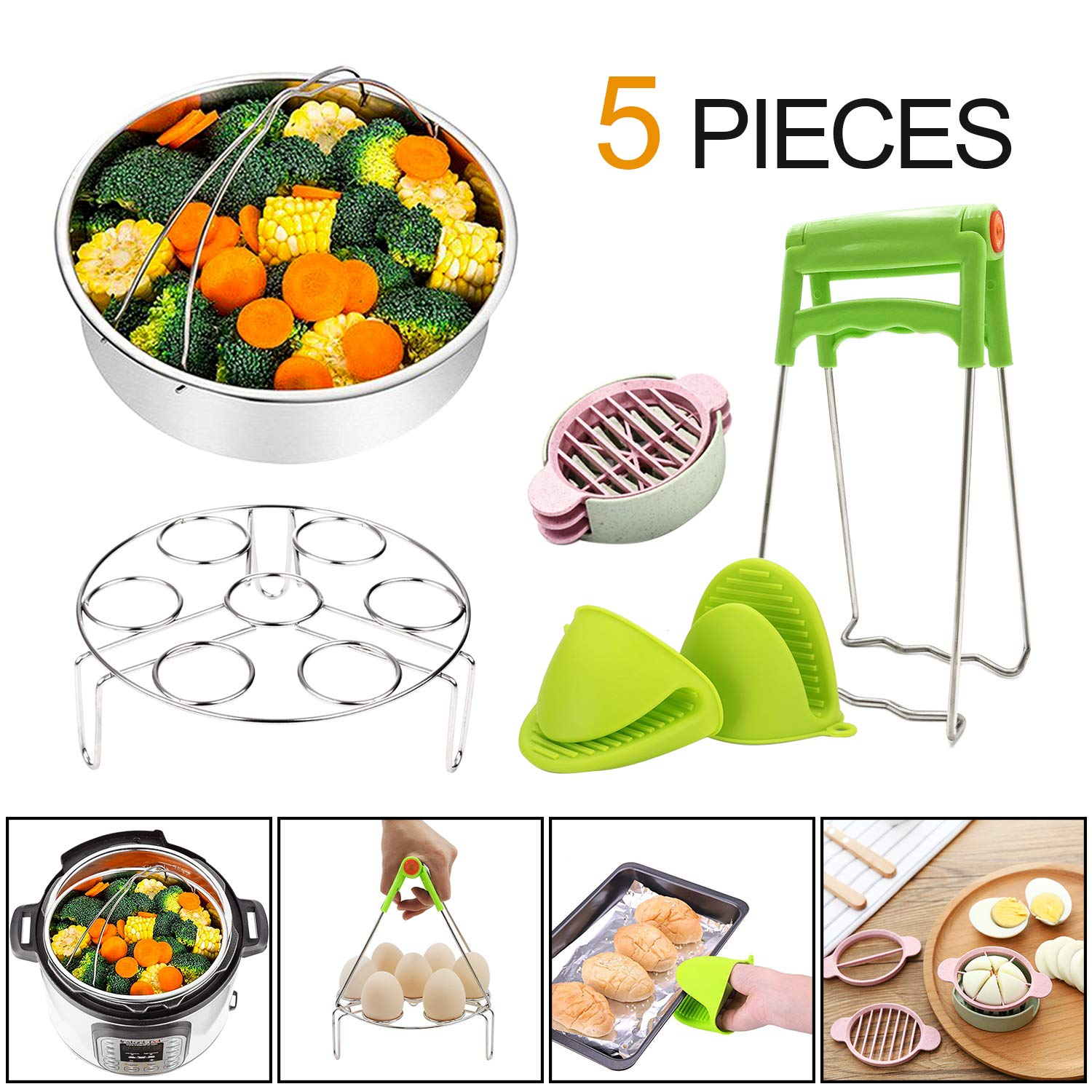Instant Pot Accessories 6,8 qt Steamer Basket with Egg Steamer Rack, Foldable Bowl Plate Dish Clip Clamp and Pair of Silicone Mini Oven Mitts(5 Pieces)