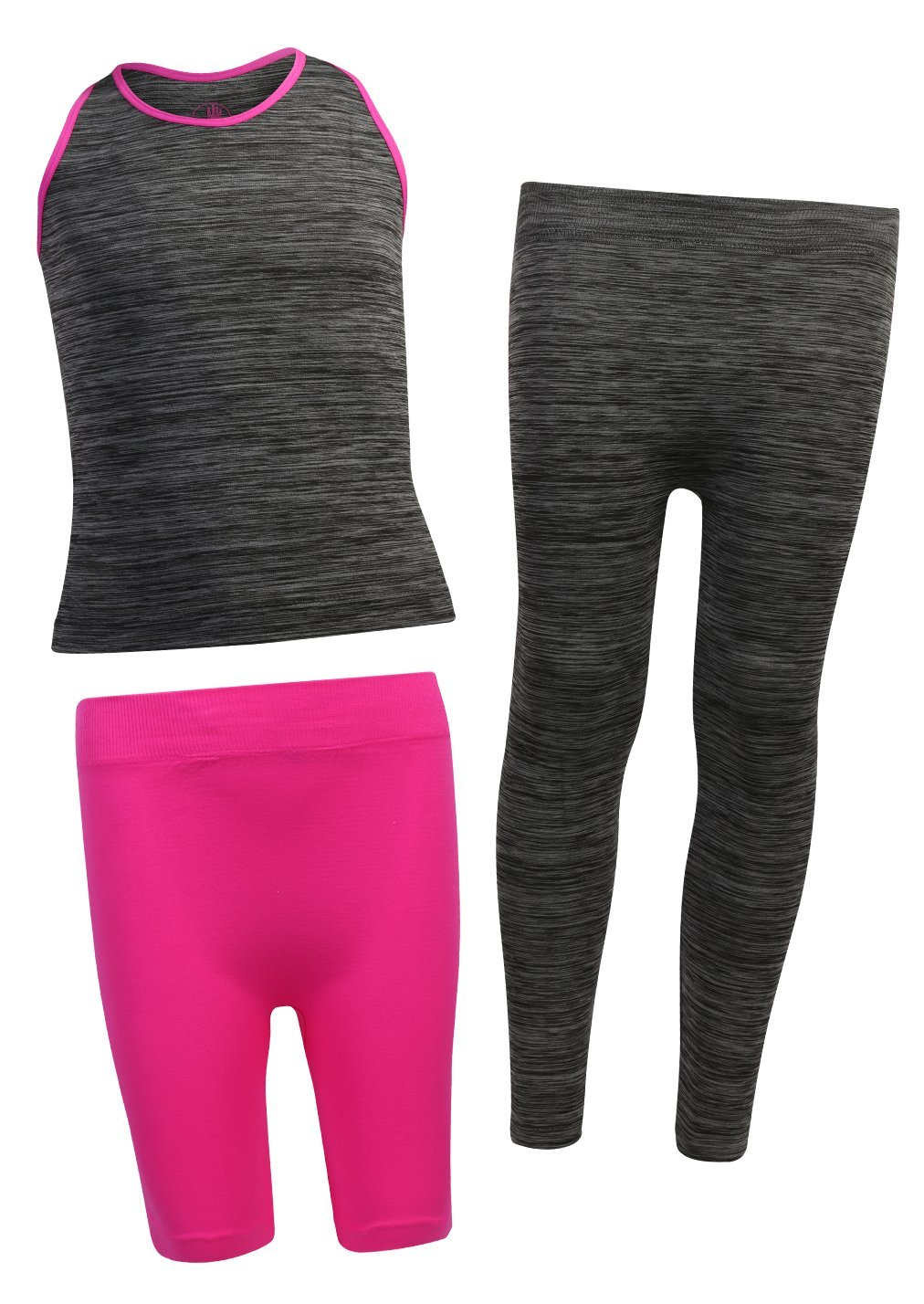 Body Glove Girl's 3 Piece Athletic Shorts, Legging and Tank Top Sets, Heather Charcoal, 6/6X'