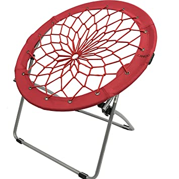 CAMPZIO Bungee Chair Round Bungee Chair Folding Comfortable Lightweight  Portable Indoor Outdoor (RED)