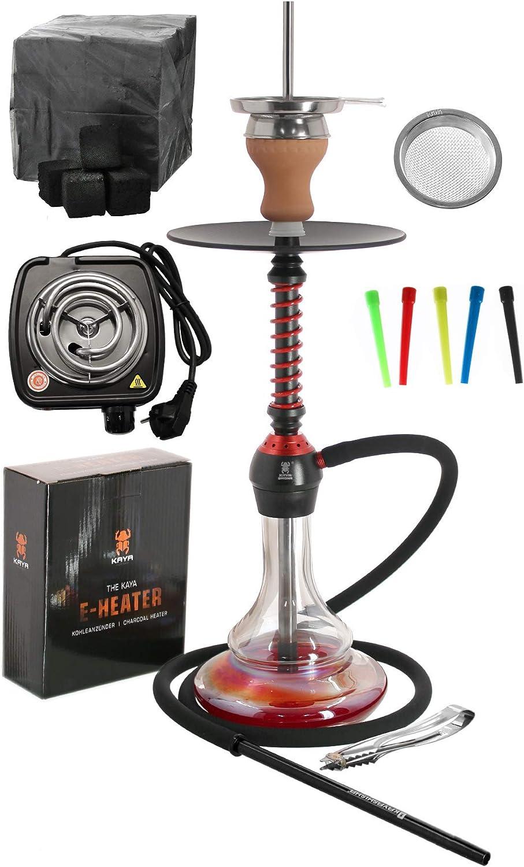 Kaya ELOX Eco 580 Twist Set con Cocina eléctrica carbón de cachimba boquillas Desechables Pinzas gestor de Calor (Redground)