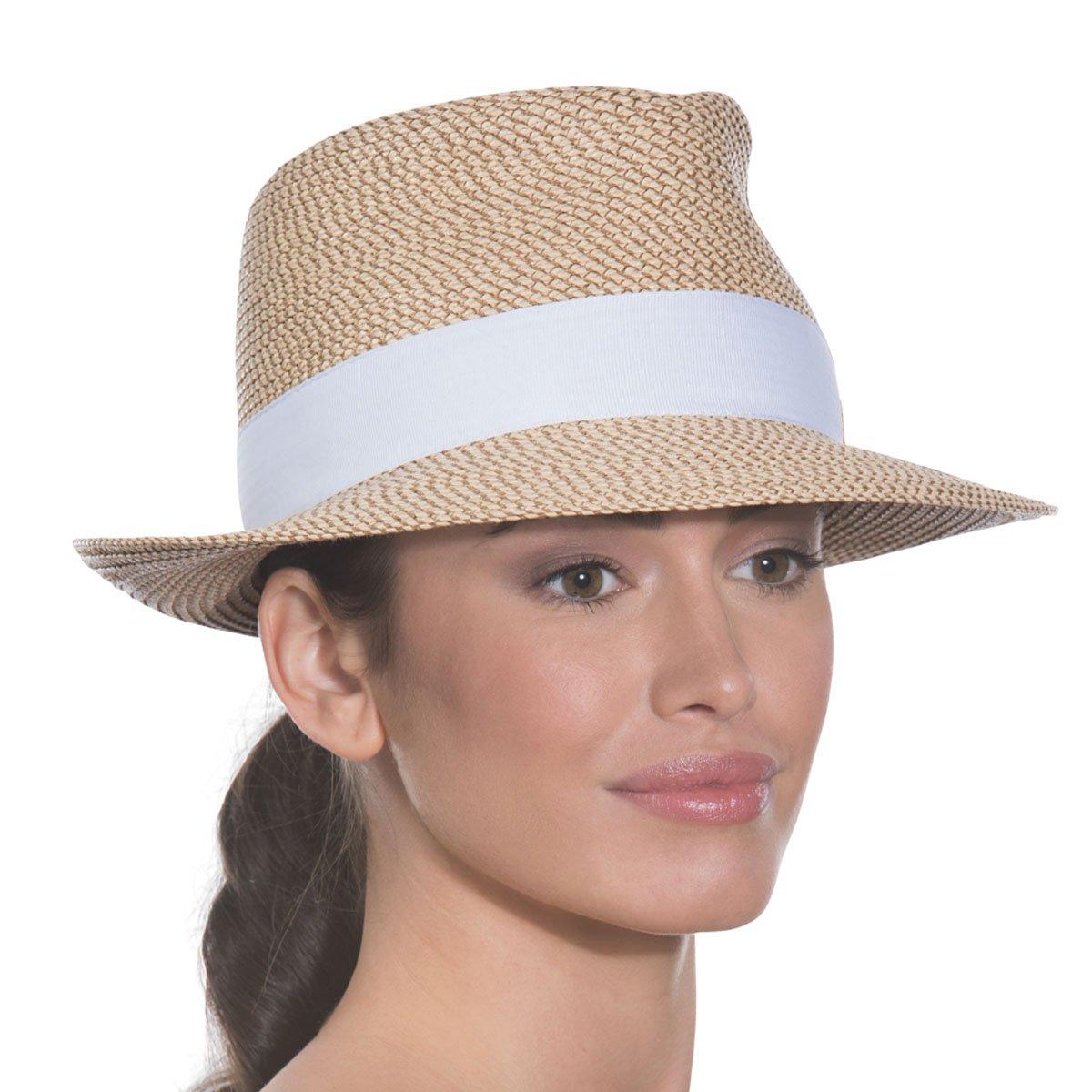 Eric Javits Luxury Fashion Designer Women's Headwear Hat - Squishee Classic- Peanut/White