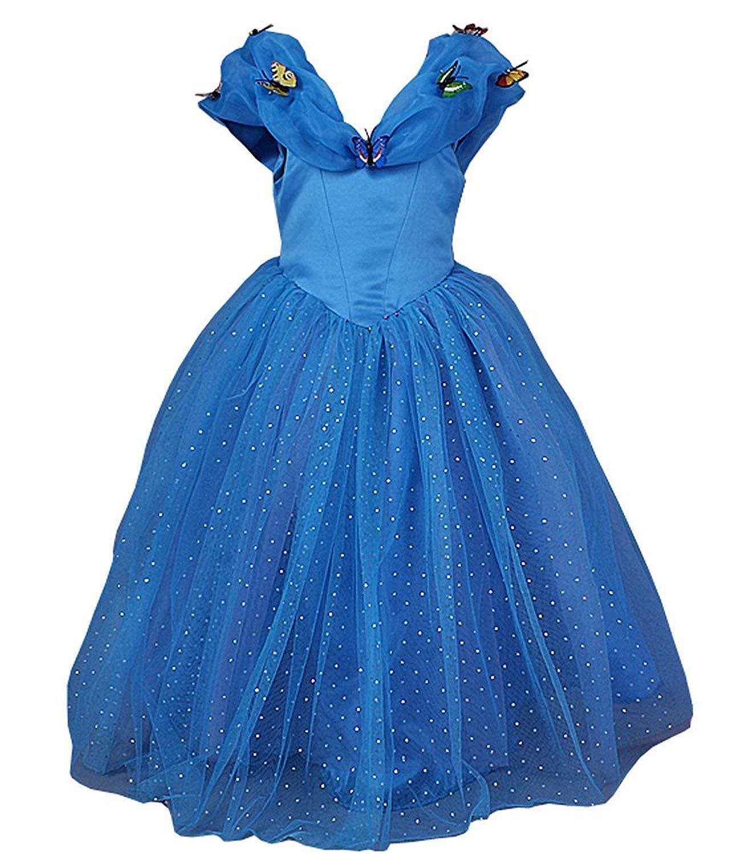 bluee 7 Years LaBiTi New Cinderella Dress Princess Costume Butterfly Girl