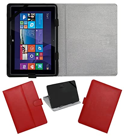 ACM Leather FLIP Flap Tablet Holder Carry CASE Stand Cover Compatible with IBALL Slide WQ149R RED Tablet Bags, Cases   Sleeves