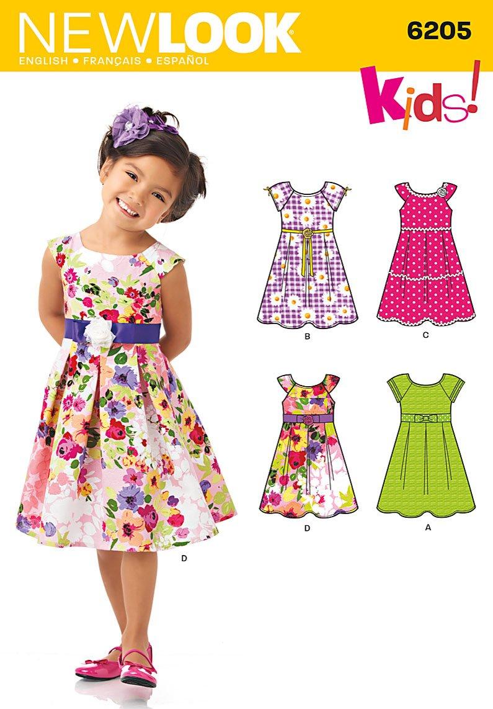 New Look Schnittmuster 6205, für Kinderkleider, Kleidergrößen 92, 98 ...