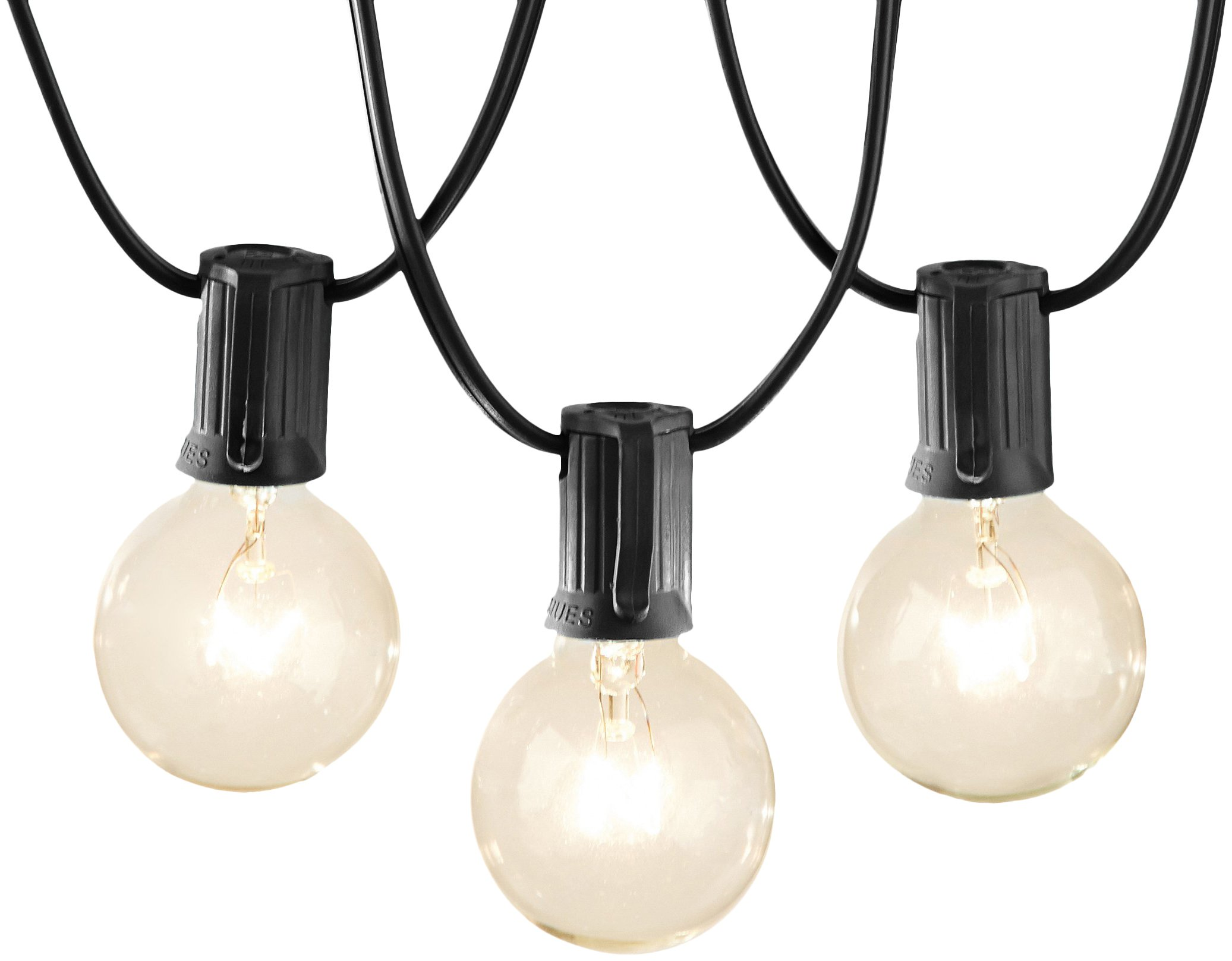 AmazonBasics Outdoor Patio Lights String With 50 Globe Light Bulbs - 50 Foot, Black
