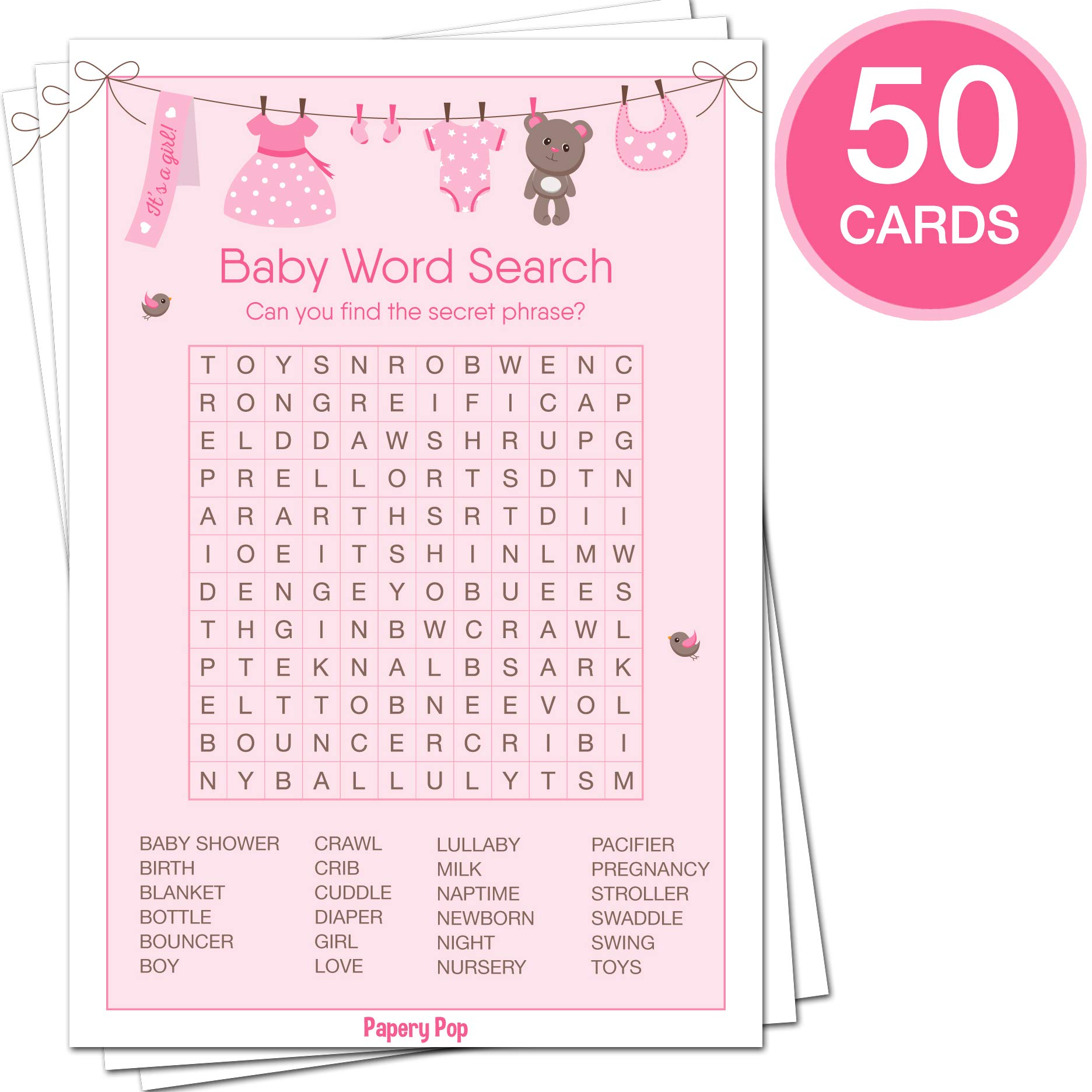 Baby Shower Games for Girls - Set of 5 Activities - (50 Cards Each, 250 Total) - Baby Shower Supplies by Papery Pop (Image #6)