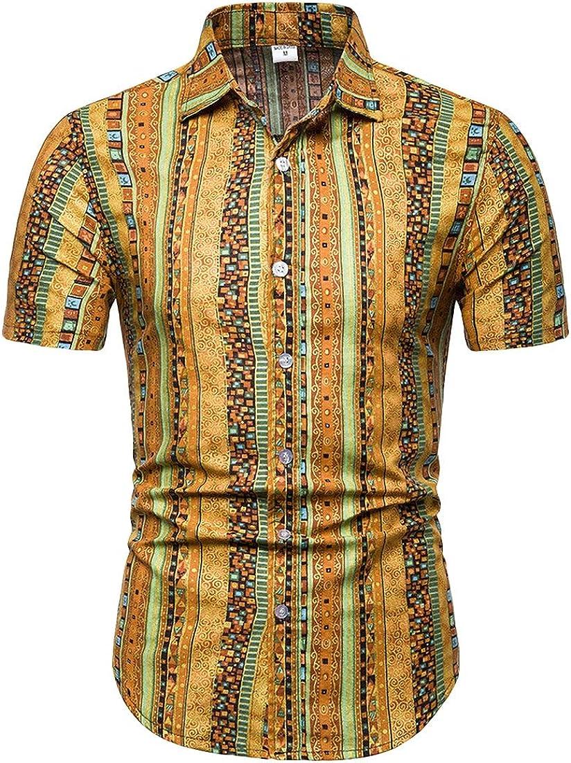 Fubotevic Mens Ethnic Style Large Size Short Sleeve Casual Print Dress Work Shirt