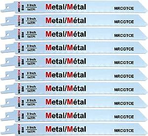 9 Inch Metal Cutting Reciprocating Saw Blades, Bi-Metal 14 TPI Sawzall Blades Metal Cutting - 10 Pack