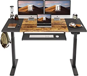 FEZIBO Dual Motor Height Adjustable Electric Standing Desk, 55 x 24 Inches Full Sit Stand Home Office Table with Splice Board, Black Frame/Black and Rustic Brown Top