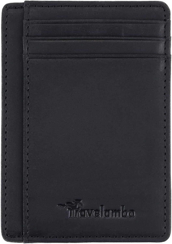 Travelambo Front Pocket Minimalist Leather Slim Wallet RFID Blocking Medium Size 03 crazy horse black