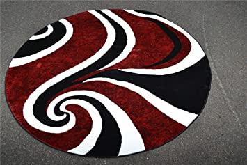 0327 Red 6 Feet 5 Inch Diameter Round Area Rug Carpet Large New