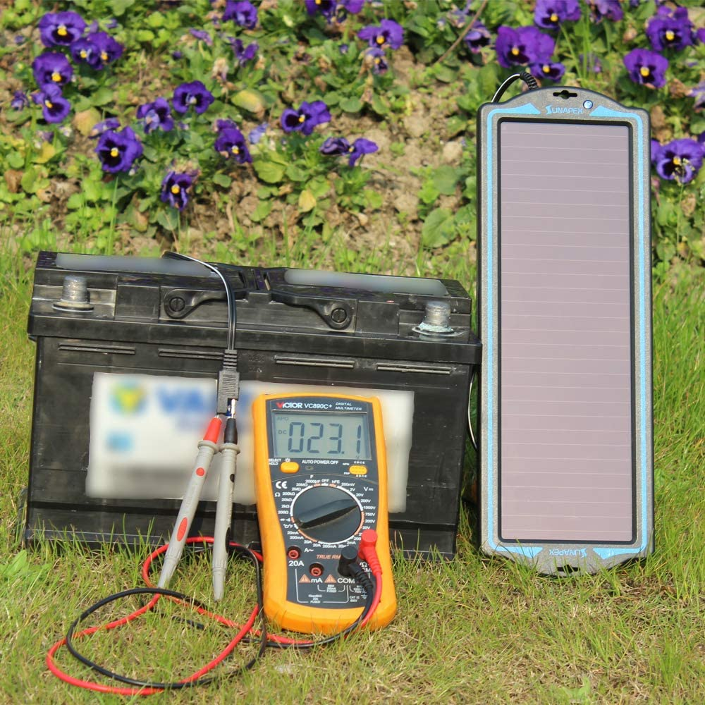 SUNAPEX 1.8W 12V Solar trickle Charger,Battery Charger,Battery maintainer Portable Power Solar Panel Suitable for Car, Motorcycle, Boat, ATV,Marine, RV, Trailer, Snowmobile, etc.