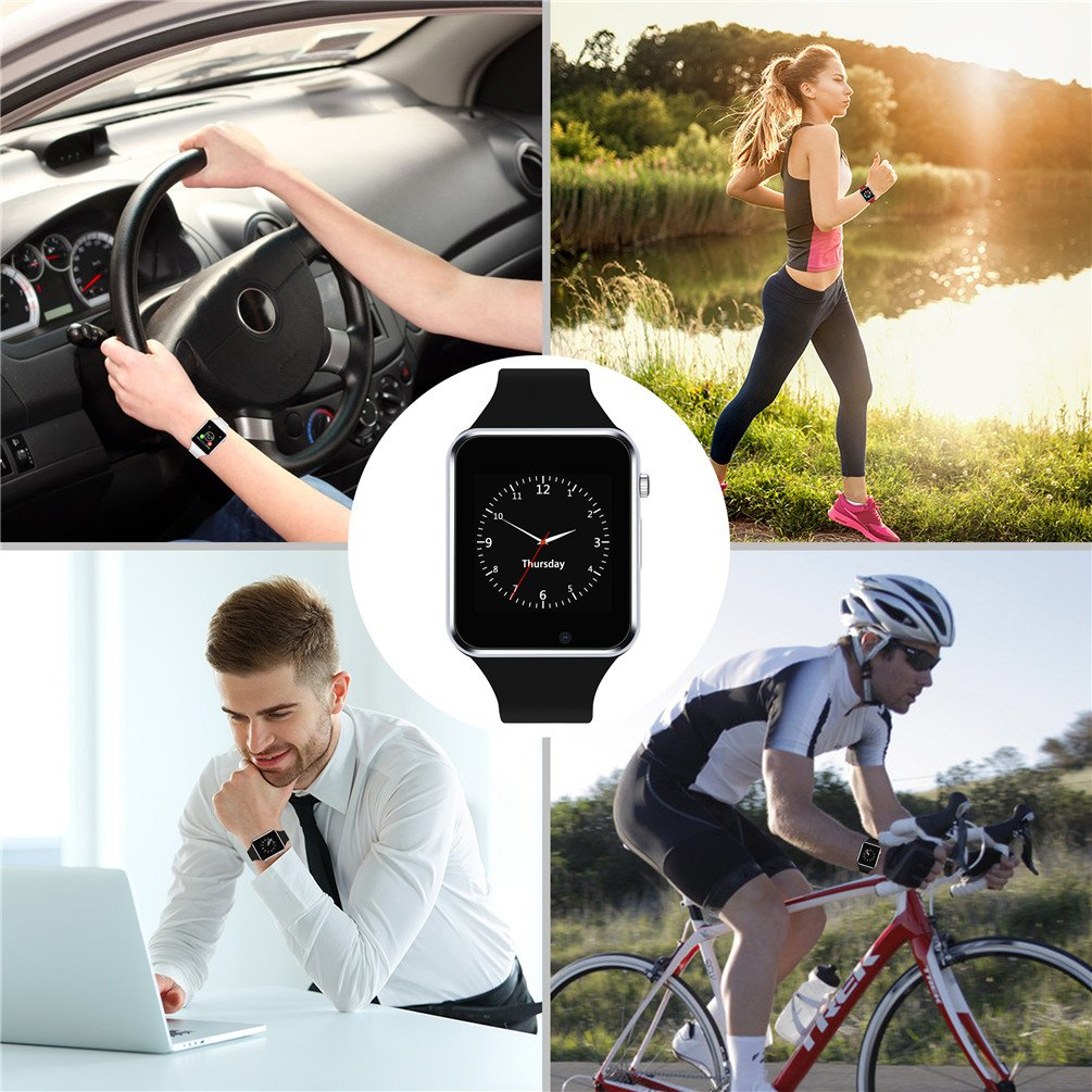 Smart Watch ,SUNETLINK Touch Screen Bluetooth Cell Phone Watch with Camera,SIM Card Slot/Pedometer Analy/Sleep Monitoring for Android and IOS,Christmas Gift for Men Women Kids Girls (BLACK)