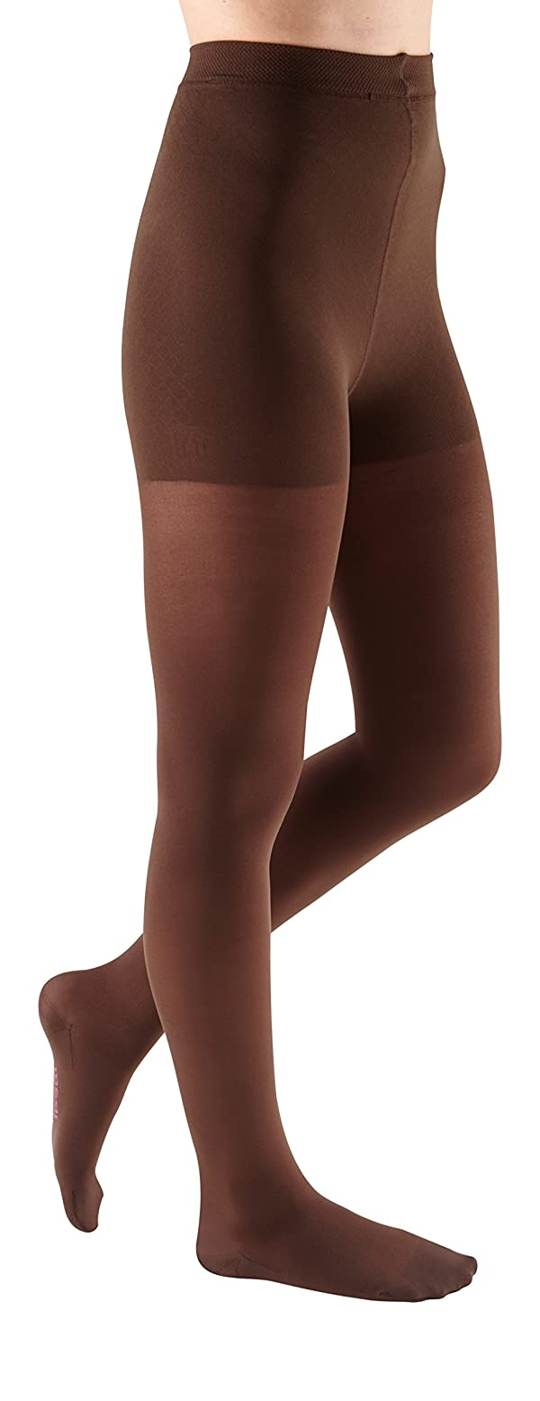mediven Comfort, 20-30 mmHg, Thigh High Compression Stockings w/Lace Top-Band, Closed Toe (Color: Chocolate, Tamaño: III)