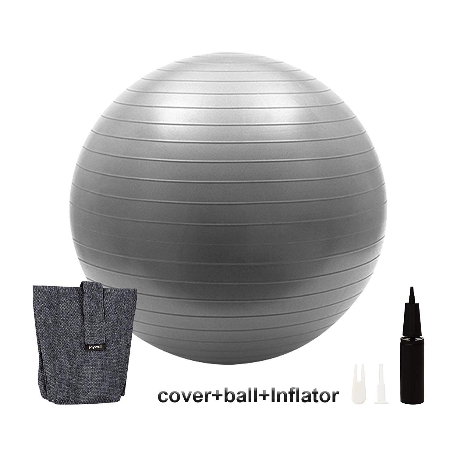 Joywell -Sitting Ball Chair with Handle for Home, Office, Pilates, Yoga, Stability and Fitness - Includes Exercise Ball with Pump Multi Function Foldable Storage Bag Laundry Hamper (65CM,Gray)