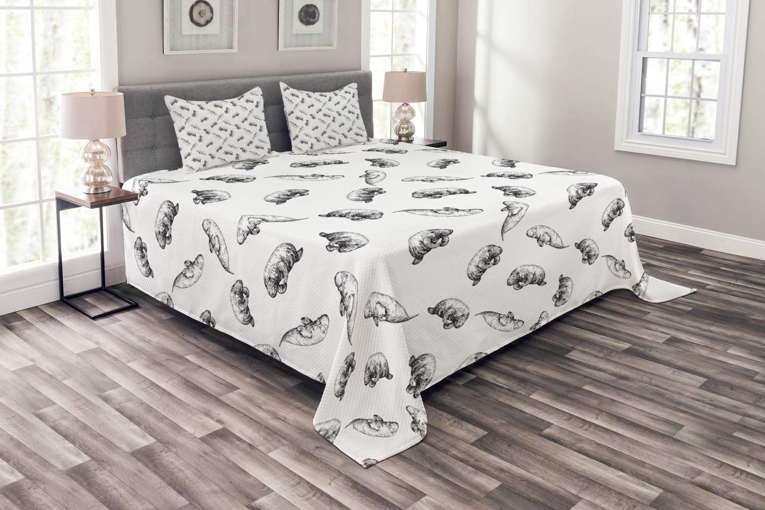 Ambesonne Manatee Bedspread Set Queen Size, Hand Drawn Sketch of Marine Animals Monochromatic Illustration Retro Style, 3 Piece Decorative Quilted Coverlet with 2 Pillow Shams, Charcoal Grey White