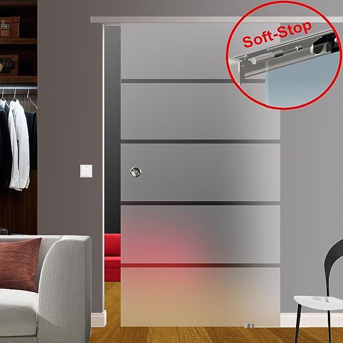 ESG - Sistema de puerta corredera (acabado satinado, con tiras transparentes de aluminio P1, distancia a la pared de 30 mm): Amazon.es: Bricolaje y herramientas
