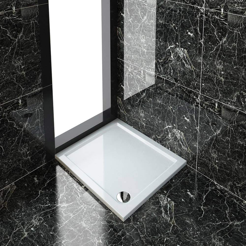 Rectangular 1000 x 900 x 40 mm Stone Tray for Shower Enclosure Cubicle + Waste Trap