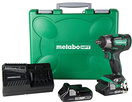 Metabo HPT WR18DBDL2 18V Cordless Brushless Impact Wrench, 2 Compact 3.0Ah Lithium Ion Batteries, 225 -LBS of Torque, IP56 Compliant, LED Light, 4-Stage Speed Switch, Lifetime Tool Warranty