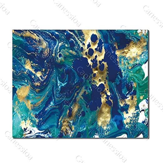 Abstract Dark Blue Gold Flow Unframed Wall Print Poster Home Decor
