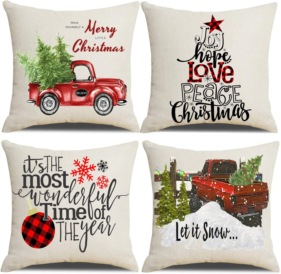 Amazon Com Lanpn Christmas 16x16 Throw Pillow Covers Decorative Outdoor Farmhouse Merry Christmas Xmas Pillow Shams Cases Slipcovers Cover Set Of 4 Couch Sofa Home Kitchen