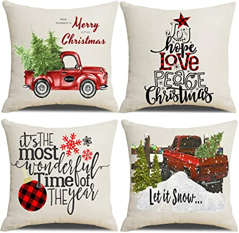 Amazon Com Lanpn Christmas 26x26 Throw Pillow Covers Decorative Outdoor Farmhouse Merry Christmas Xmas Pillow Shams Cases Slipcovers Cover Set Of 4 Couch Sofa Home Kitchen