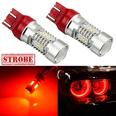 JDM ASTAR Super Bright PX Chips 7443 7444 Red Strobe Brake LED Bulbs: Automotive