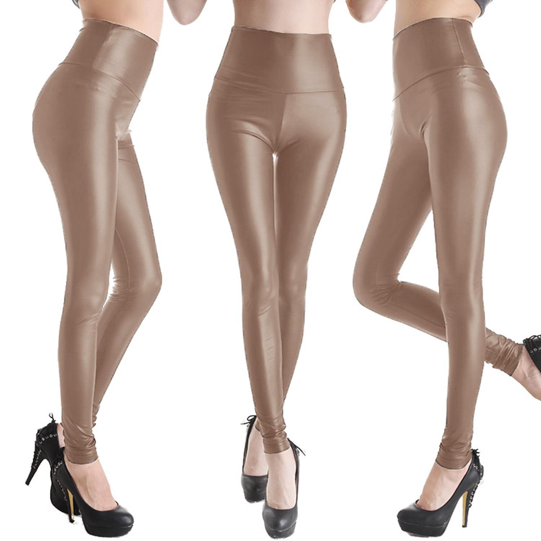 Hot selling European and American High Waist PU leather pants Skinny Leggings Pants