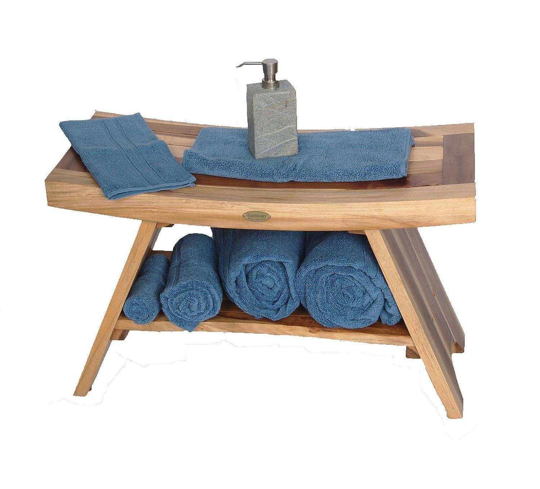 Amazon.com: Earthy Teak™ Serenity Teak Bench with Shelf Eastern ...