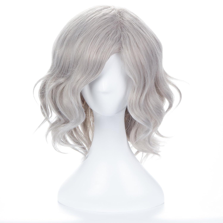 wiglala Parrucca Del Partito Del Filo Di Alta Temperatura Della Parrucca Bianca Grigia Lunga Dei Capelli Ricci polala-wig