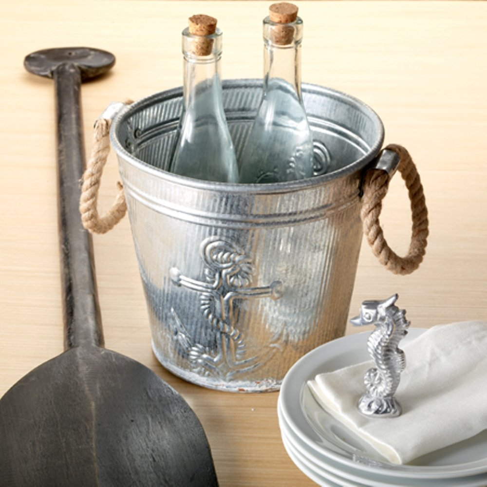 Galvanized Metal Ice Bucket for Drinks or Planter Pail with Rope Handles by KINDWER (Image #2)