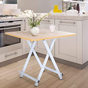 Ywindl Folding Square Dining Table, Wood Home Kitchen Desk, Convenient Cheap Farmhouse Small Table for Small Space, Portable Foldable X-Frame Camping Picnic Table (Beige)