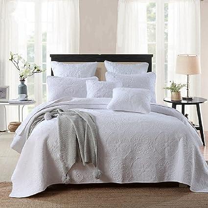 100 Cotton 3 Piece Roundel Flowers White Bedspread Comforter Set King