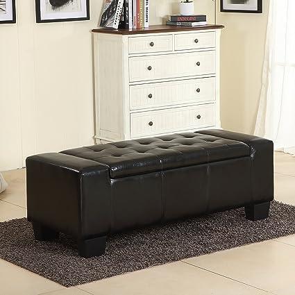 Beau Belleze 51u0026quot; Inch Storage Ottoman Bench Black Faux Leather Large  Rectangular Tufted