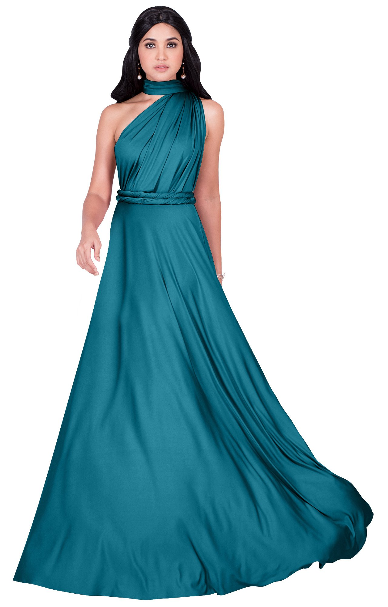 KOH KOH Womens Long Bridesmaid Multi-Way Wedding Convertible Wrap Infinity Cocktail Sexy Summer Party Formal Prom Transformer Gown Gowns Maxi Dress Dresses, Blue Teal M 8-10
