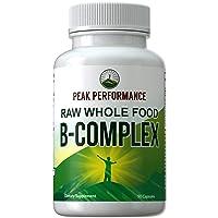 Raw Whole Food Vegan B Complex Supplement. Best B-Complex with Vitamin B1, B2, B3...