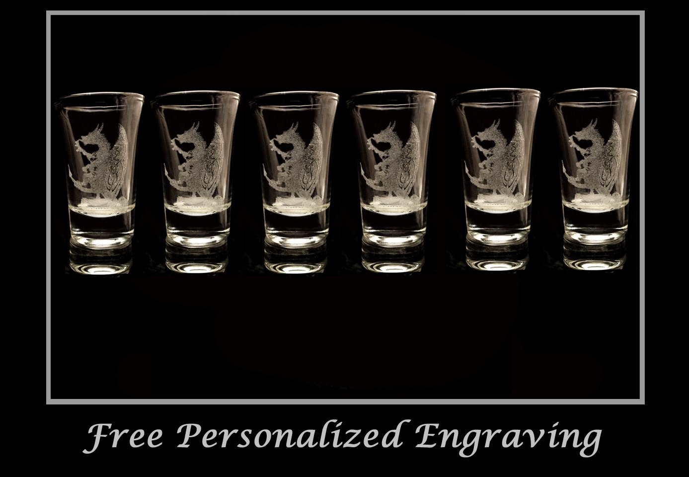 Celtic Dragon Shot Glass Set of 6 - Free Personalized Engravin\