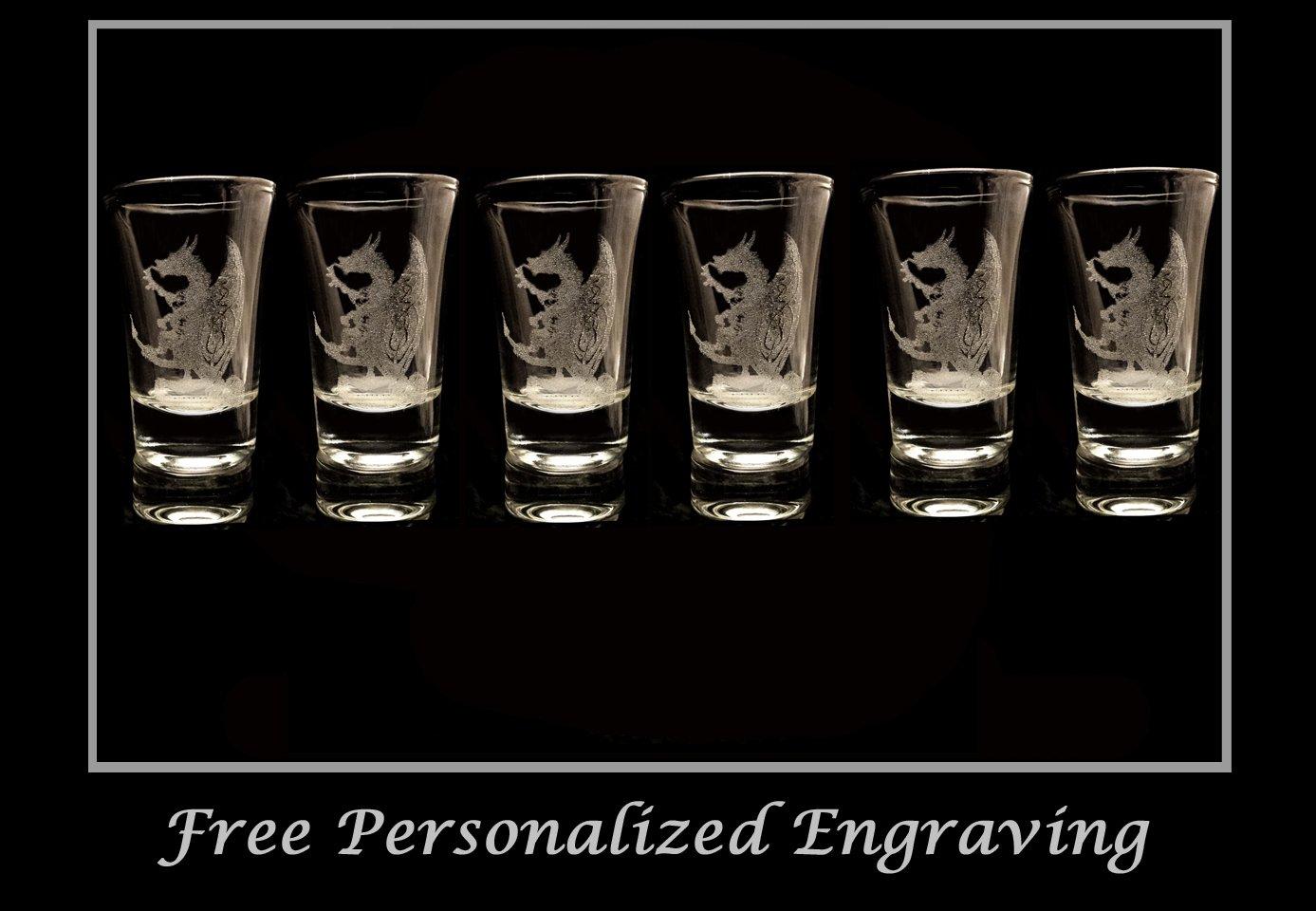Celtic Dragon Shot Glass Set of 6 - Free Personalized Engravin\