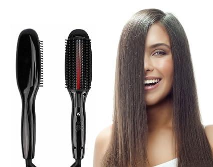 Plancha de pelo de infrarrojos masaje vibratorio que endereza el cepillo de antiescaldadura fuerte Calefacción Detangling