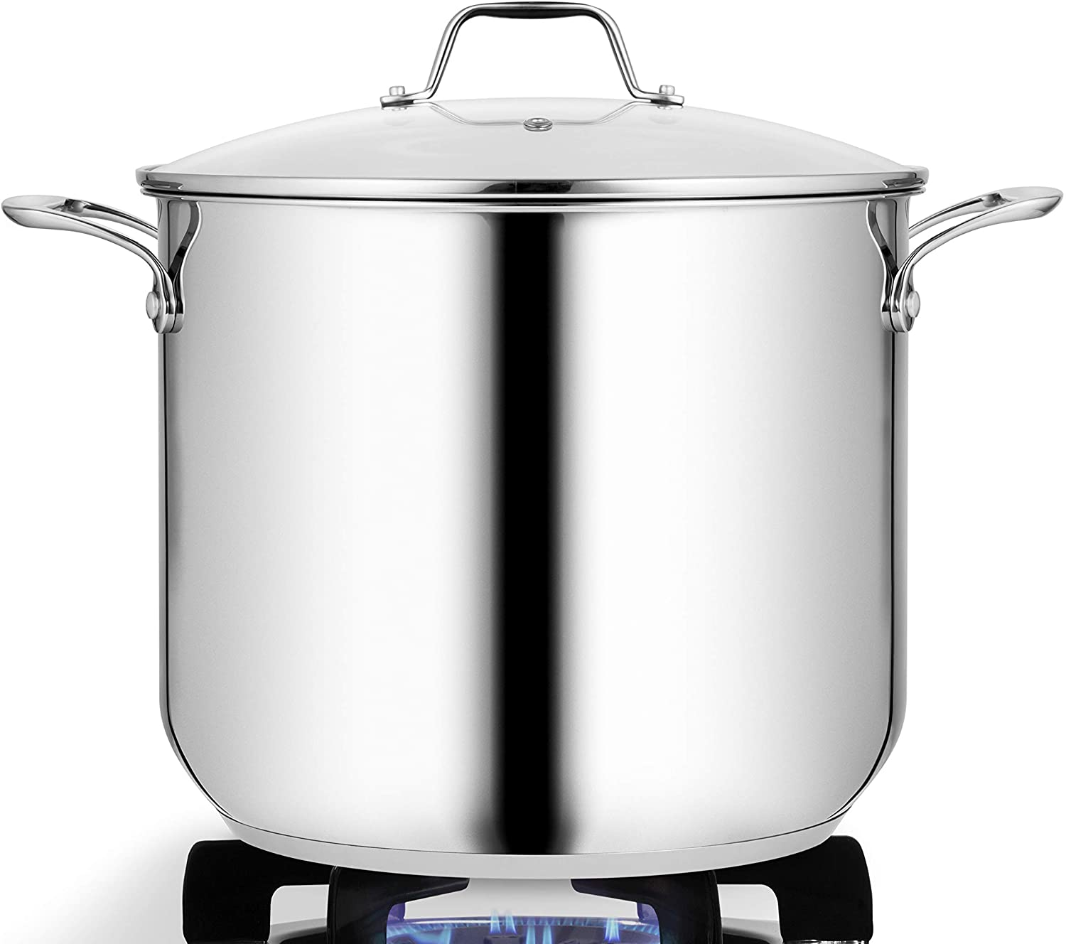 NutriChef Soup Pot with See Through Lid, Dishwasher Safe Stainless steel Pot-18/8 Food Grade Heavy Duty Induction-Large, Stew, Simmering Se, 15-Quart Stock