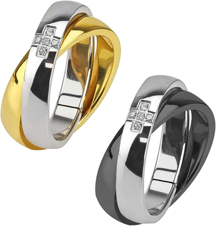 COMVIP Damen-Ring Edelstahl Finger Ringe Bandring Fingerringe Motivring Partnerring