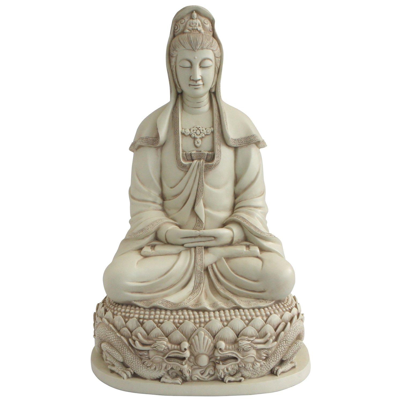Buddha Groove Kuan Yin on Dragon Throne 22 Inches Ancient Treasures Elegant Garden Statue