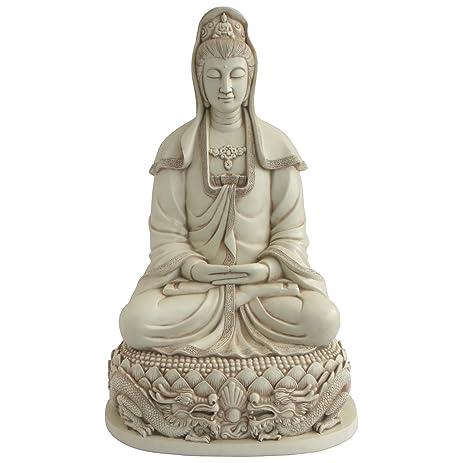 Kuan Yin On Dragon Throne, Elegant Garden Statue, 22 Inches