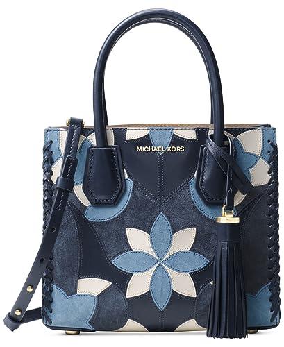 77128eeba9 Michael Kors Studio Mercer Floral Patchwork Leather Crossbody in Admiral   Amazon.co.uk  Shoes   Bags
