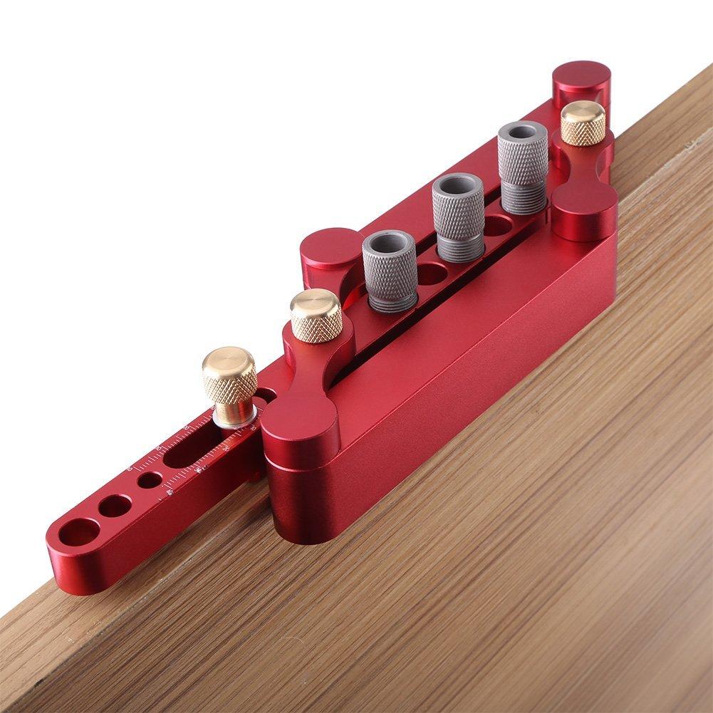 Outil de Per/çage Auto-Centration Positionneur avec Douilles,Outil de rep/érage de positionneur de menuiserie Travail du Bois 6//8 //10mm Kit Guide de Per/çage de trou de goujon en bois rouge